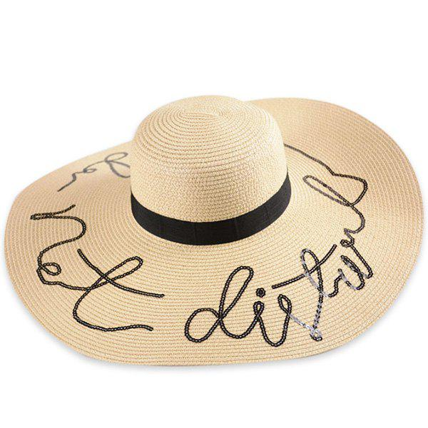 Outfits Wide Brim Ribbon Sequins Sun Hat with Writing