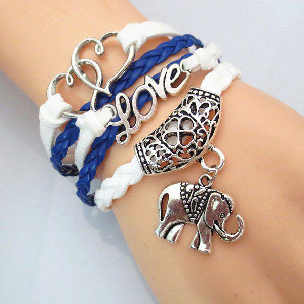 Heart Love Elephant BraceletJEWELRY<br><br>Color: BLUE; Item Type: Charm Bracelet; Gender: For Women; Chain Type: Leather Chain; Style: Fresh Style; Shape/Pattern: Animal,Floral,Heart; Weight: 0.0380kg; Package Contents: 1 x Bracelet;