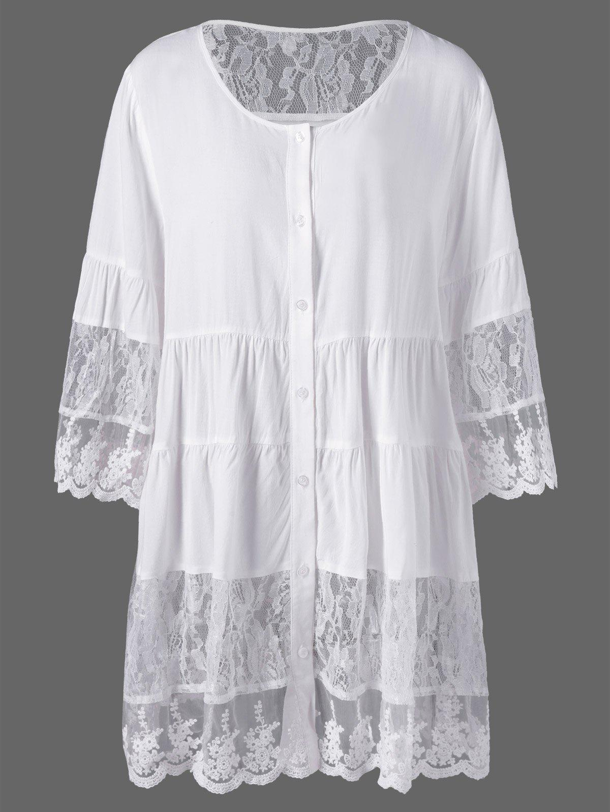 Plus Size Lace Insert Scalloped Button Up BlouseWOMEN<br><br>Size: 2XL; Color: WHITE; Material: Cotton Blends,Polyester; Shirt Length: Long; Sleeve Length: Full; Collar: Scoop Neck; Style: Fashion; Season: Spring,Summer; Embellishment: Lace; Pattern Type: Solid; Weight: 0.3000kg; Package Contents: 1 x Blouse;