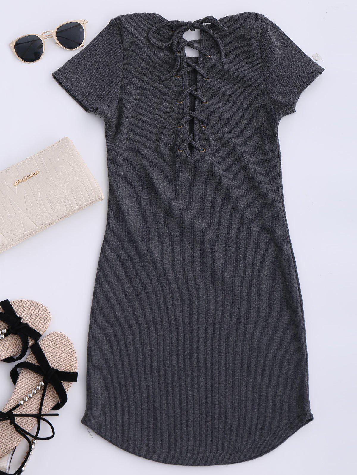 2018 Lace Up Mini Short Sleeve Jumper Dress In Gray One Size ... d9c7a3e26