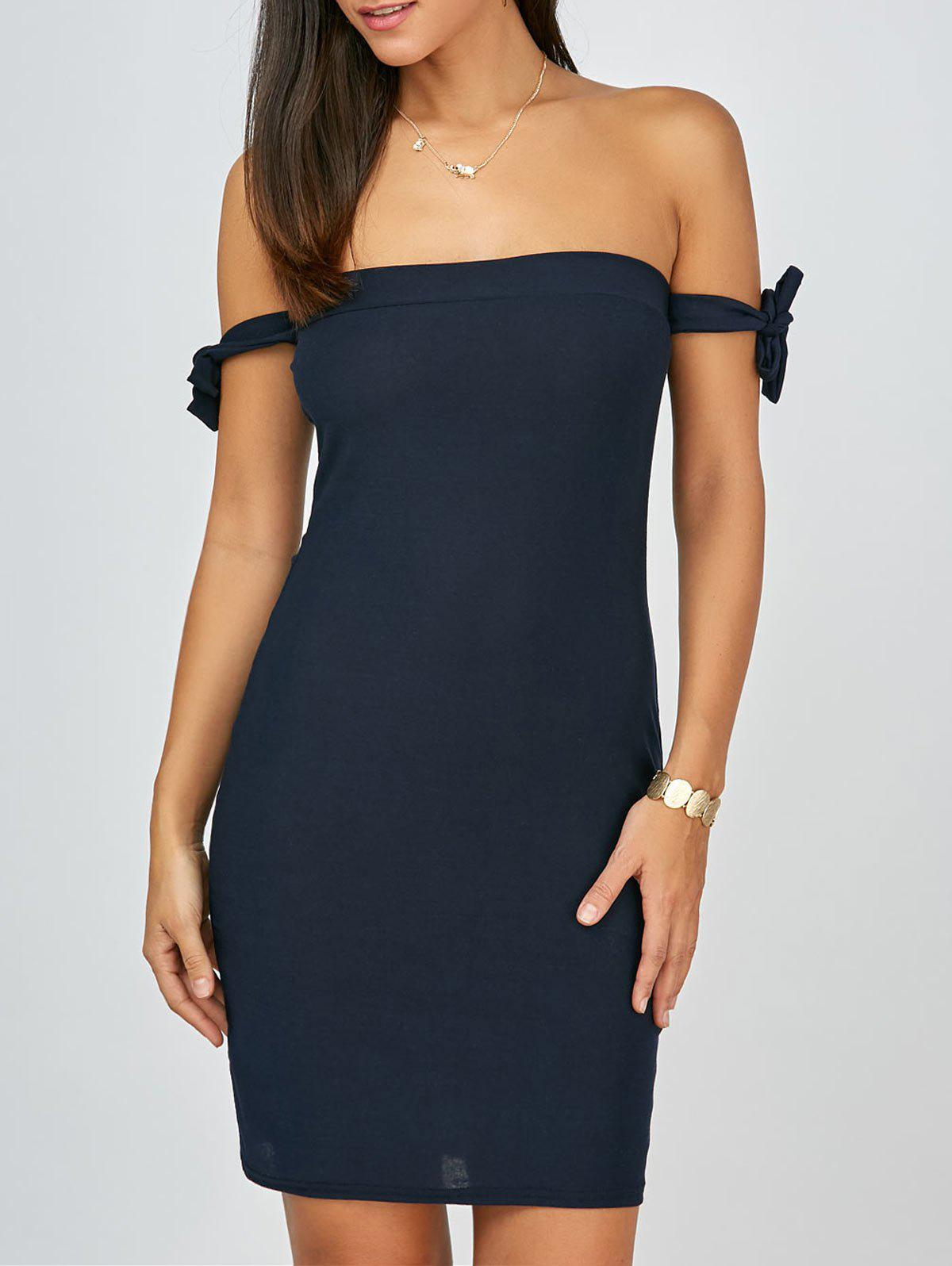 Hot Off The Shoulder Backless Mini Bodycon Club Dress