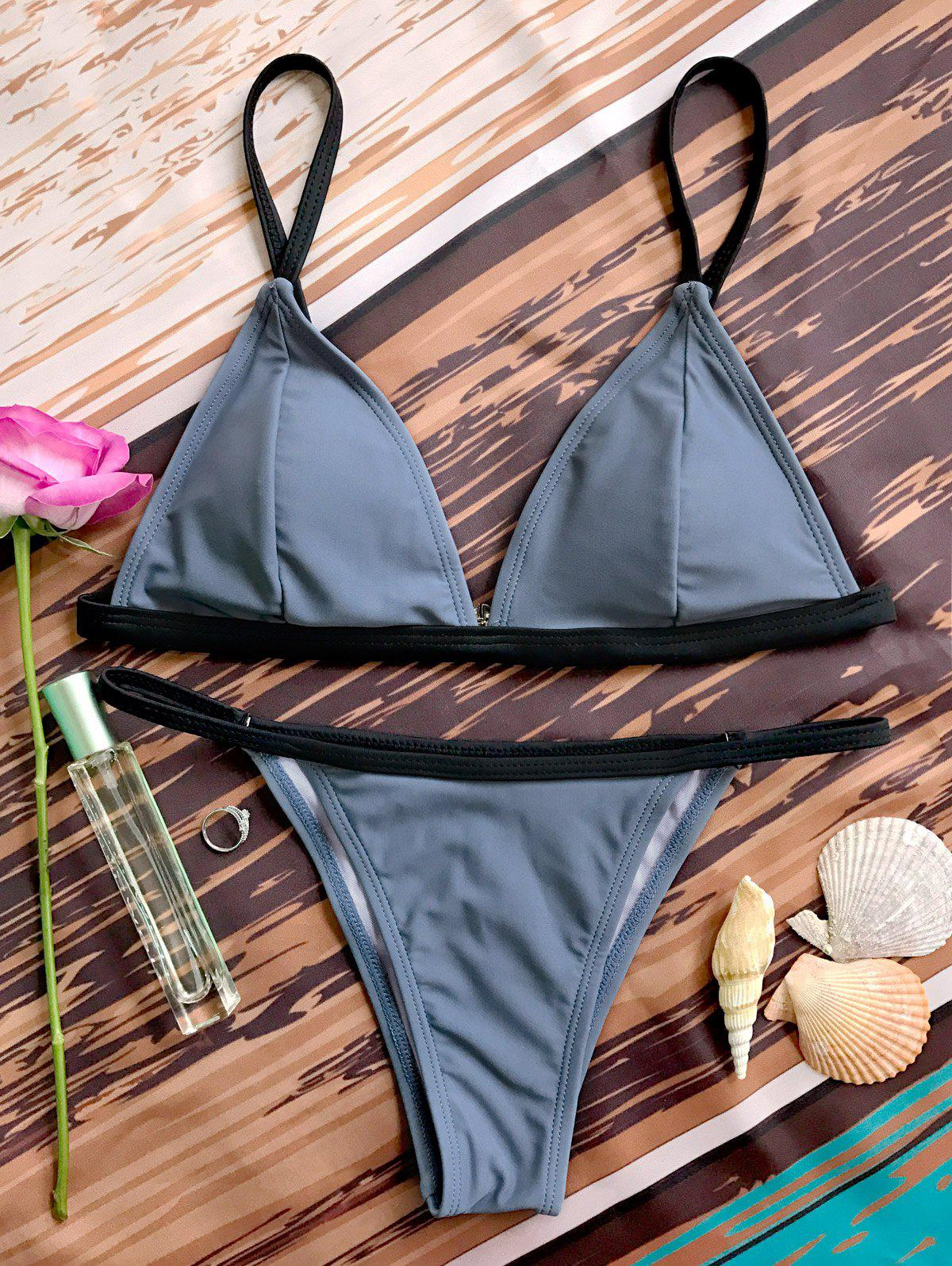 Bicolor Plunge V String BikiniWOMEN<br><br>Size: S; Color: GRAY; Swimwear Type: Bikini; Bikini Type: String Bikini; Gender: For Women; Material: Nylon,Polyester,Spandex; Bra Style: Padded; Support Type: Wire Free; Neckline: Straps; Pattern Type: Others; Waist: Low Waisted; Elasticity: Elastic; Weight: 0.2000kg; Package Contents: 1 x Top  1 x Briefs;