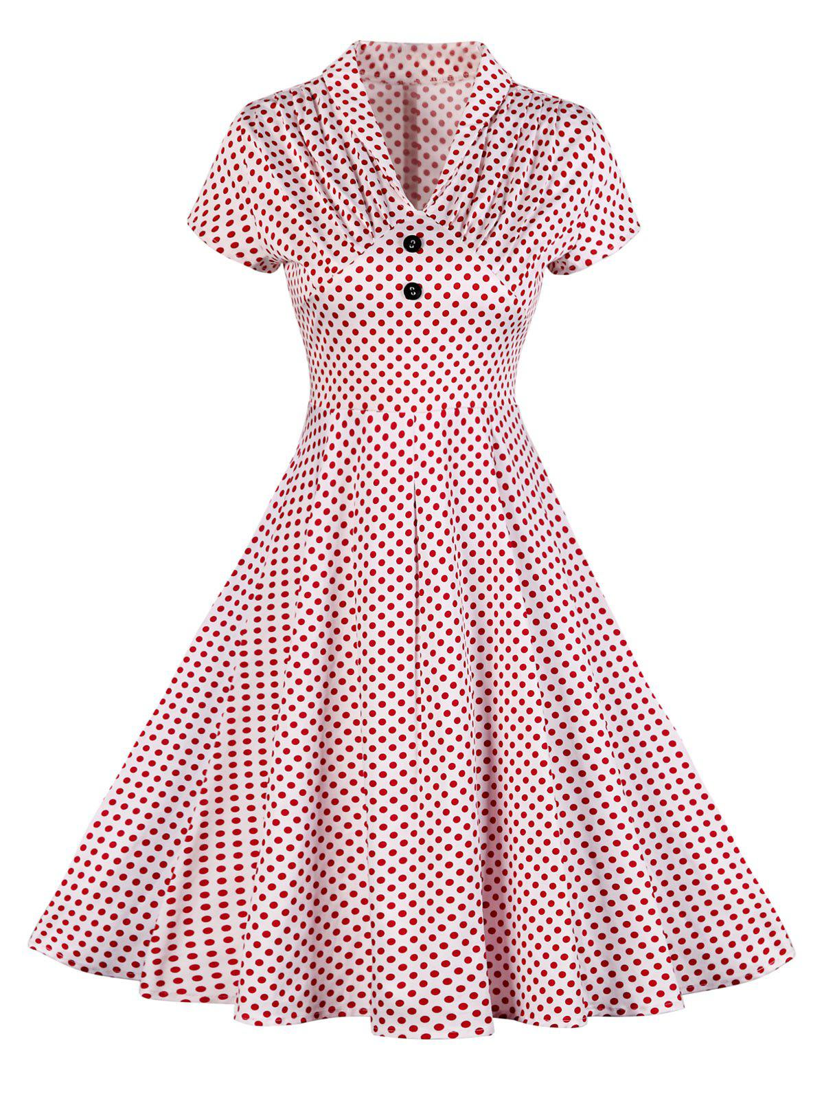Buttoned Polka Dot V Neck Skater DressWOMEN<br><br>Size: L; Color: RED; Style: Vintage; Material: Polyester; Silhouette: A-Line; Dresses Length: Knee-Length; Neckline: V-Neck; Sleeve Length: Short Sleeves; Pattern Type: Polka Dot; With Belt: No; Season: Summer; Weight: 0.3500kg; Package Contents: 1 x Dress;