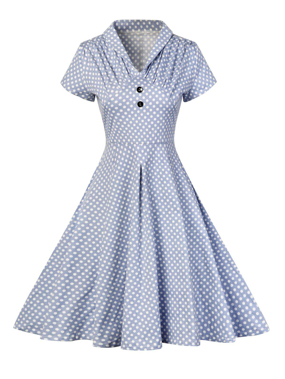 Unique Buttoned Polka Dot V Neck Skater Dress