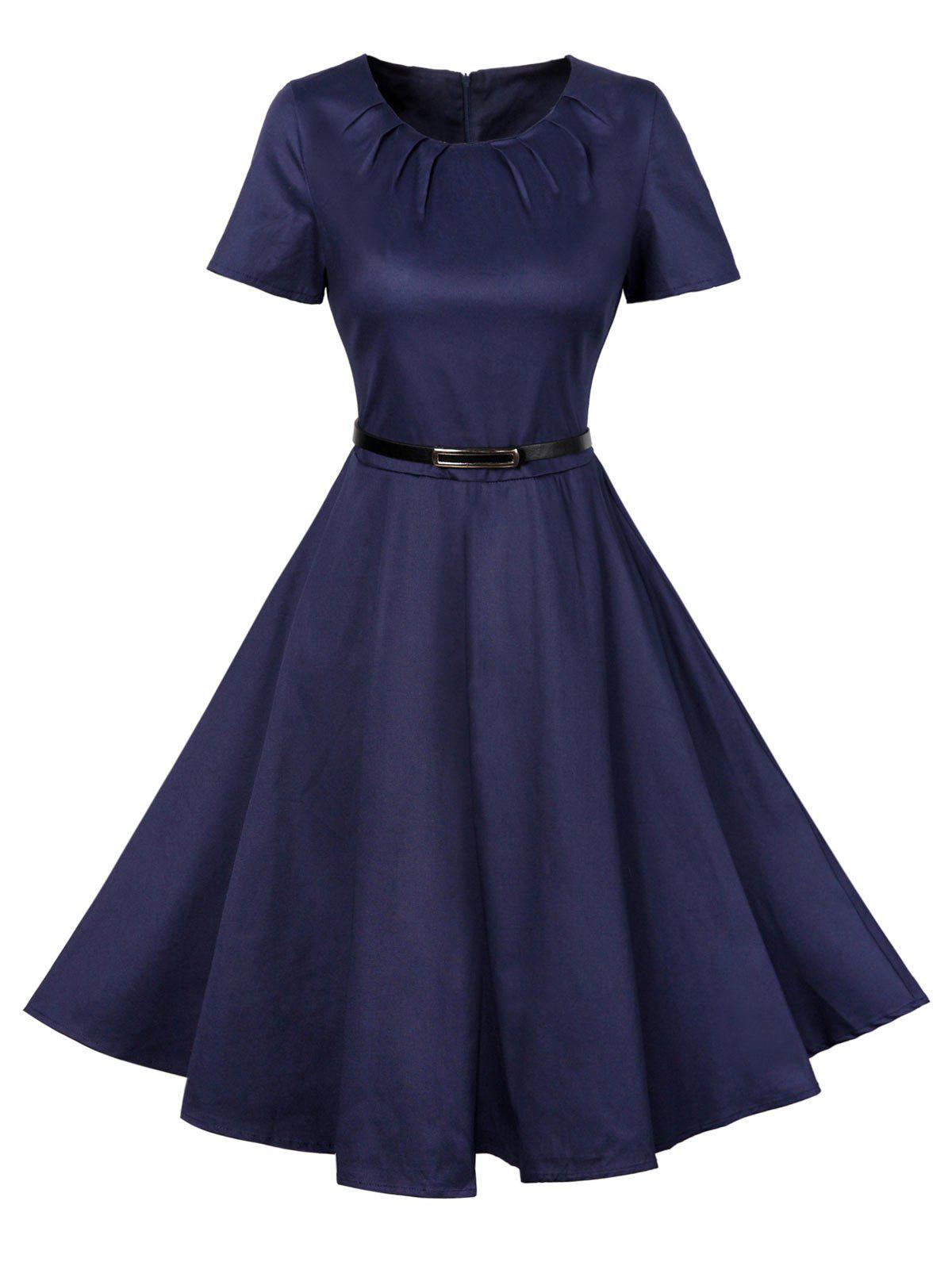 Affordable Vintage Short Sleeve Swing Skater Dress