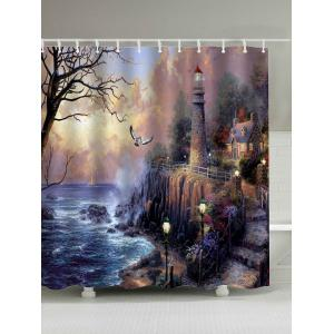 Oil Painting Fairyland Print Waterproof Shower Curtain - Brown - 180*200cm