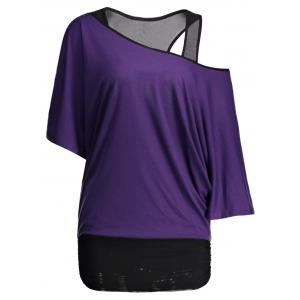 Dolman Sleeve Color Block Plus Size Top - Purple - 4xl