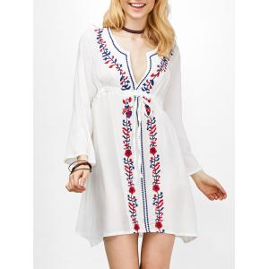 Long Sleeve Floral Embroidered Boho Mini Dress - White - One Size