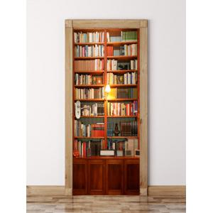 3D Wooden Bookshelf Door Waterproof Wall Sticker