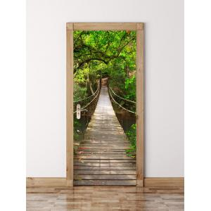 3D Wooden Bridge in Deep Forest Waterproof Door Wall Sticker