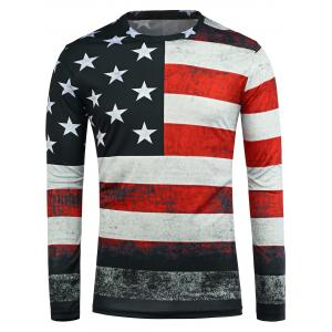 Distressed American Flag Long Sleeve T-Shirt