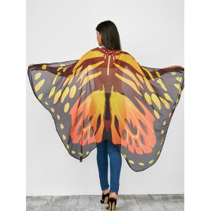 Ombre Color Chiffon Butterfly Wing Cape Scarf with Straps
