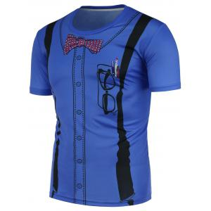 3D Suspenders Pattern T-Shirt - Blue - 4xl