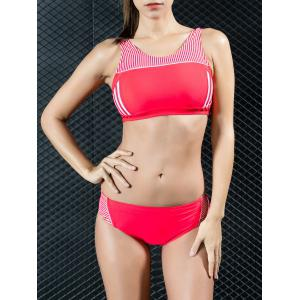 High Neck Striped Sport Bikini