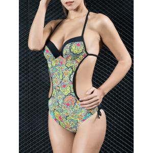 Halter Ethnic Print Backless One Piece Swimwear