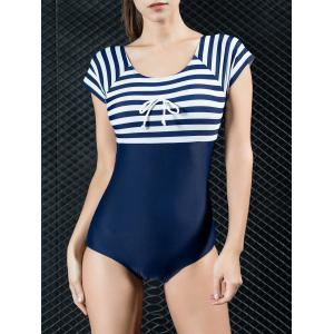 Striped Back Cut Out One Piece Swimwear