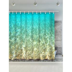Mermaid Seabed Polyester Water Resistant Bath Curtain - Turquoise - 180*200cm