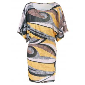 Dolman Sleeve Plus Size Print Blouson Dress