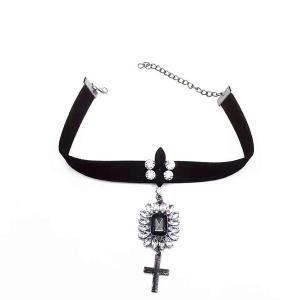 Artificial Gem Crucifix Velvet Choker Necklace