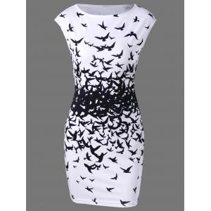 Bodycon Cap Sleeve Bird Print Mini Dress - White And Black - L
