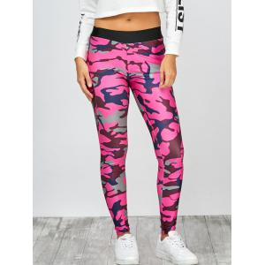 High Rise Camo Print Leggings - Camouflage Rose Red - Xl