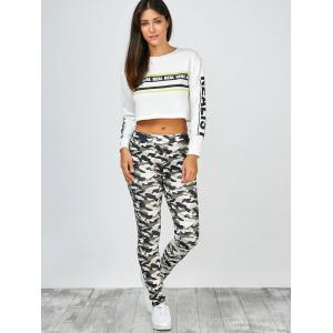 High Waisted Camo Leggings - JUNGLE CAMOUFLAGE L