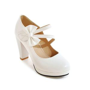 Block Heel Bowknot Pumps -