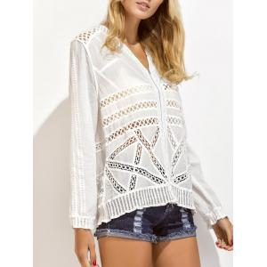 Embroidered Crochet Insert Zip Up Eyelet Blouse -