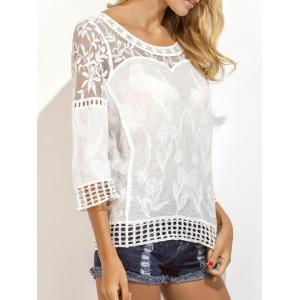 Lace Insert Embroidered Crochet Eyelet Blouse -