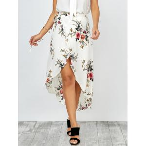 Floral Print Asymmetrical Wrap Skirt - White - Xl