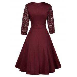 Vintage Lace Insert Pin Up Dress - WINE RED XL