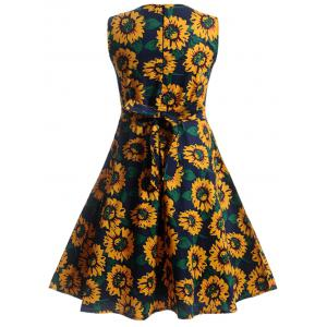 Sunflower Print Self-Tie Vintage Tea Dress - BLUE 2XL