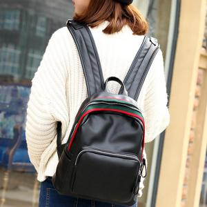 Faux Leather Zipper Front Pocket Backpack - BLACK