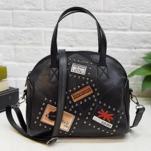 Patches Rivet Faux Leather Handbag