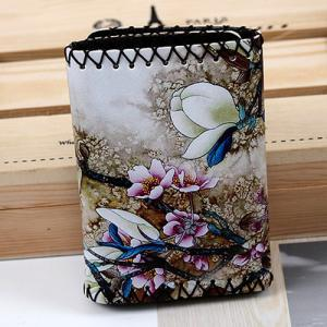 Bird and Flower Print Whipstitch Trifold Wallet -