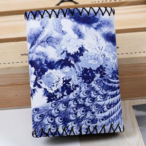 Bird and Flower Print Whipstitch Trifold Wallet - BLUE