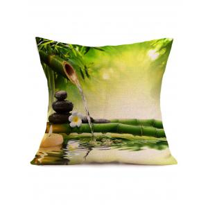 Digital Bamboo Water Stream Print Linen Throw Pillow Case - Green - 43*43cm