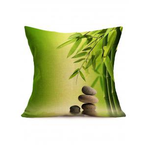 Digital Bamboo Cobblestone Print Linen Throw Pillowcase - Green - 43*43cm