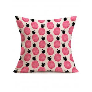 Cute Pineapple Print Square Linen Throw Pillowcase - Pink - 43*43cm