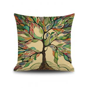 Hand Painted Leaf Tree Print Linen Square Throw Pillowcase