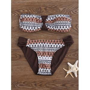 Print Push Up Bandeau Bikini Set