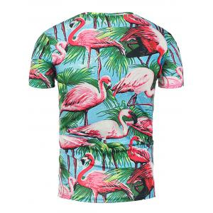 3D Flamingo Floral Print Hawaiian T-Shirt - COLORMIX XL