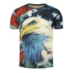 3D Eagle and Stars Print Short Sleeve T-Shirt