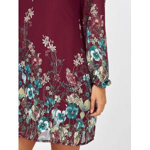 Floral Long Sleeve Chiffon Short Casual Dress - WINE RED L