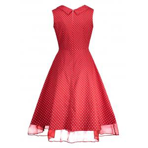 Sweetheart Neckline Polka Dot Pin Up Prom Dress - RED S