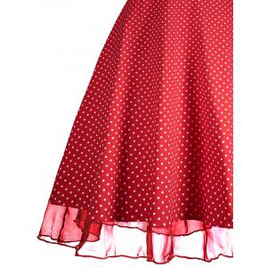 Sweetheart Neckline Polka Dot Pin Up Prom Dress - RED M