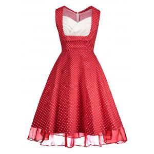 Sweetheart Neckline Polka Dot Pin Up Prom Dress