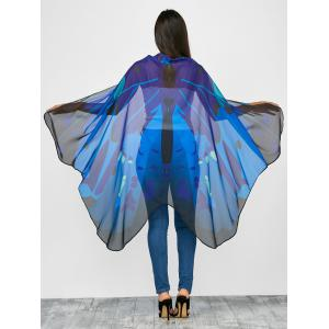 Hand Crafted Butterfly Wing Cape Chiffon Scarf with Straps - Blue - 130*200cm