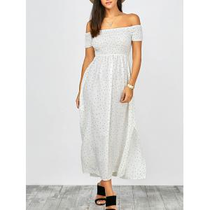 Off The Shoulder Split Maxi Dress - White - M