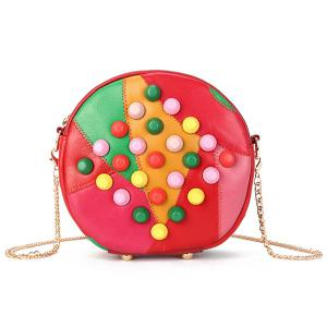 Chains Studded Cross Body Canteen Bag - Colormix - 39